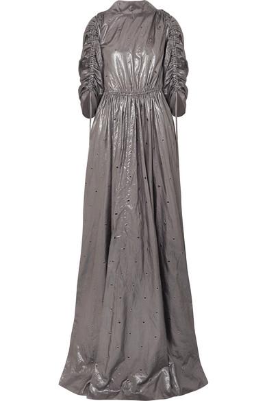 56db398de Bottega Veneta | Eyelet-embellished silk-lamé gown | NET-A-PORTER.COM
