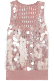 Bottega Veneta Paillette-embellished open-knit silk tank