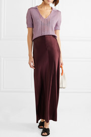 Pointelle-knit silk top