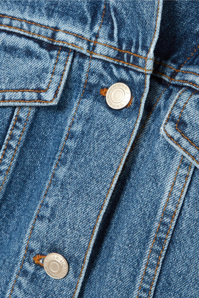 Alexander McQueen Minikleid aus Denim mit Besatz aus Baumwollpopeline
