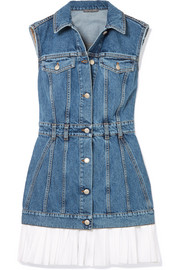 Alexander McQueen Cotton poplin-trimmed denim mini dress