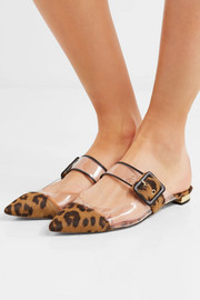 Seduction PVC and leopard-print calf hair slippers