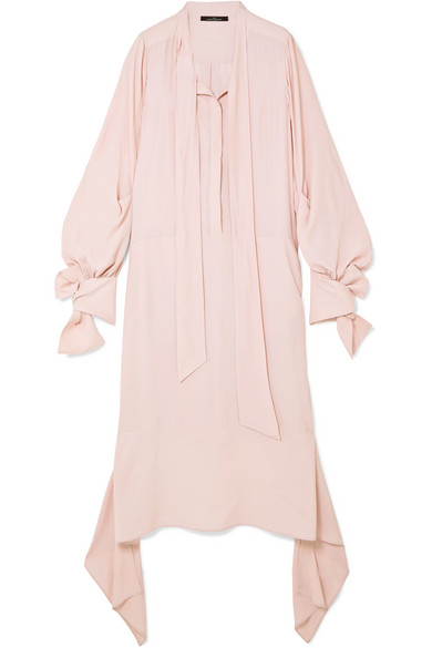 Tie-detailed Georgette Midi Dress - Blush Rokh Outlet Discount Free Shipping Low Shipping Buy Cheap Newest Outlet Explore Cheap 2018 Newest SnZvfuT
