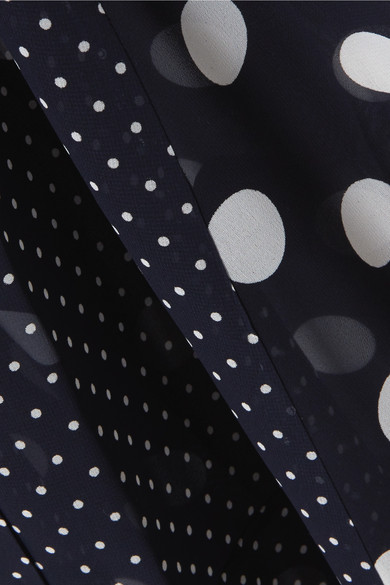 Rokh Asymmetrisches Midikleid aus Chiffon mit Polka-Dots und Schluppe