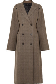 Checked woven silk coat