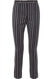 Button-detailed striped wool and cotton-blend pants