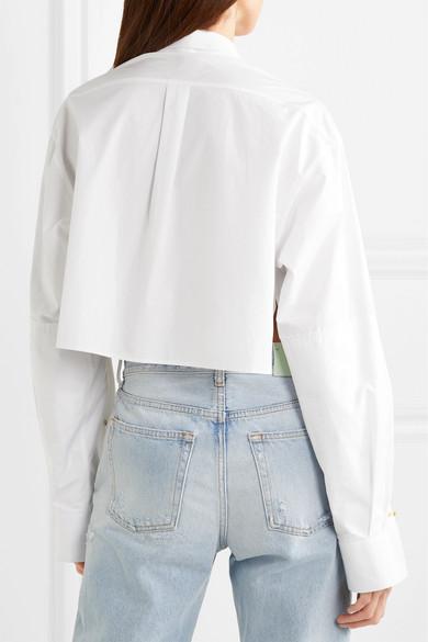 Rokh Verkürztes Hemd aus Baumwollpopeline mit Verzierungen