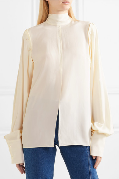 Rokh. Button-detailed pussy-bow georgette blouse