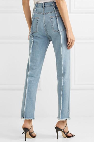 Rokh Gefranste hoch sitzende Jeans mit schmalem Bein