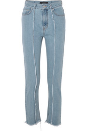 Rokh Frayed high-rise slim-leg jeans