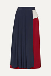 Asymmetric pleated crepe de chine skirt