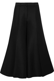 Brushed cotton and wool-blend wide-leg pants