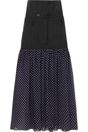 Rokh Dual pinstriped twill and polka-dot chiffon skirt
