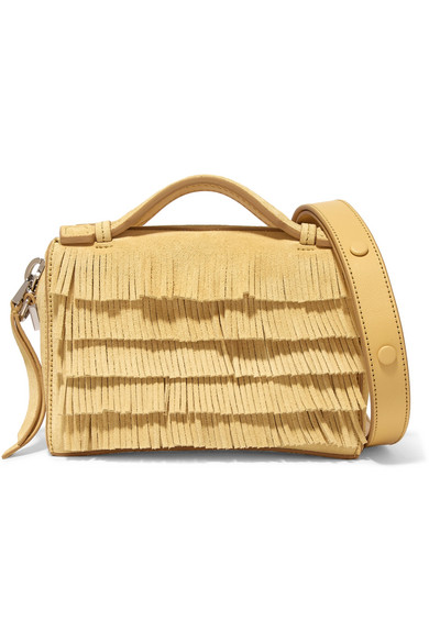 Tod's - Bauletto Micro Fringed Suede Shoulder Bag - Pastel yellow