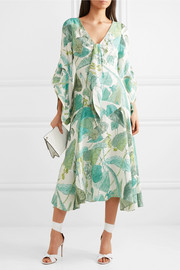 Tie-front printed silk dress