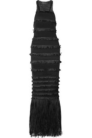 Rebecca crocheted cotton-blend fringed tiered gown