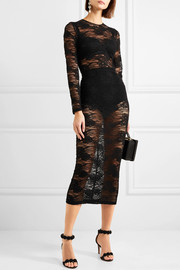 Stretch-lace midi dress