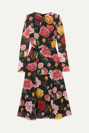 Floral-print silk-blend georgette midi dress