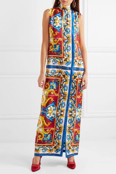 Dolce & Gabbana Maiolica Maxikleid aus bedrucktem Seiden-Twill