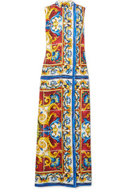 Maiolica printed silk-twill maxi dress