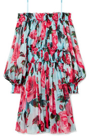 Cold-shoulder floral-print silk-chiffon dress