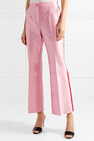 Two-tone Cotton-blend Faille Straight-leg Pants - Baby pink Dolce & Gabbana JhqXpMMjO