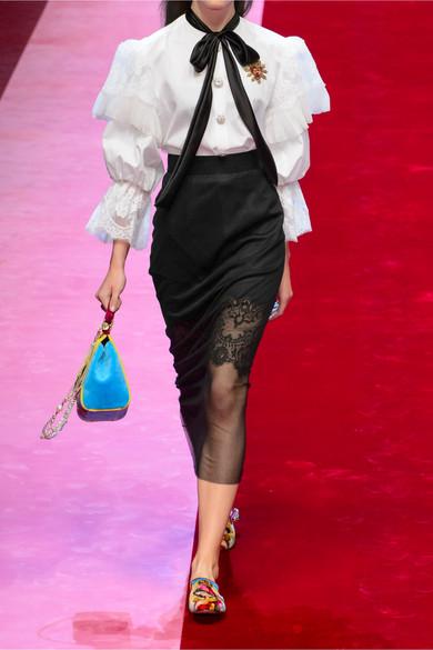 Dolce & Gabbana Midirock aus Mesh aus einer Baumwollmischung und Spitze
