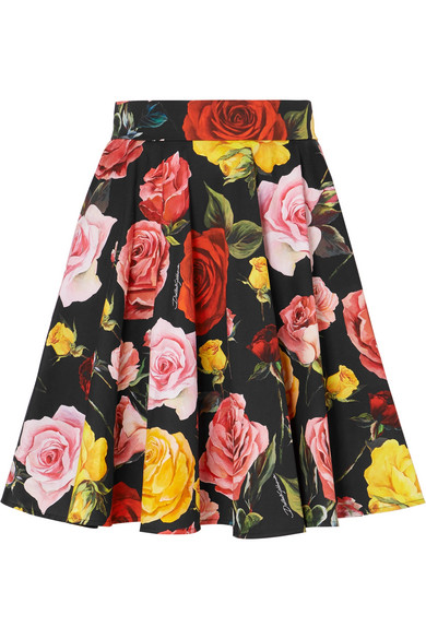 Dolce & Gabbana Minirock aus Baumwollpopeline mit Blumendruck