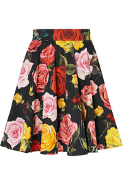 Dolce & Gabbana Floral-print cotton-poplin mini skirt