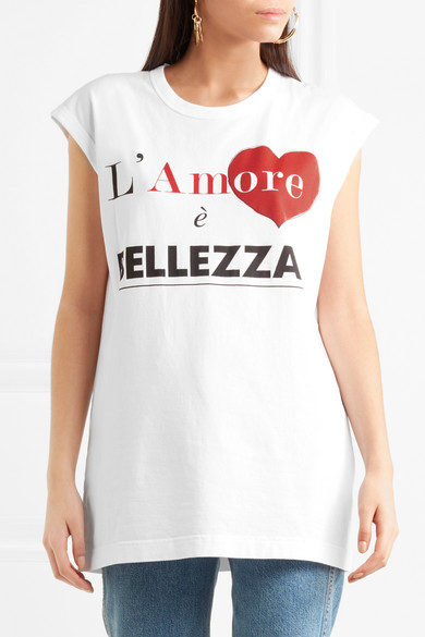 T-shirt En Jersey De Coton Imprimé Dolce & Gabbana