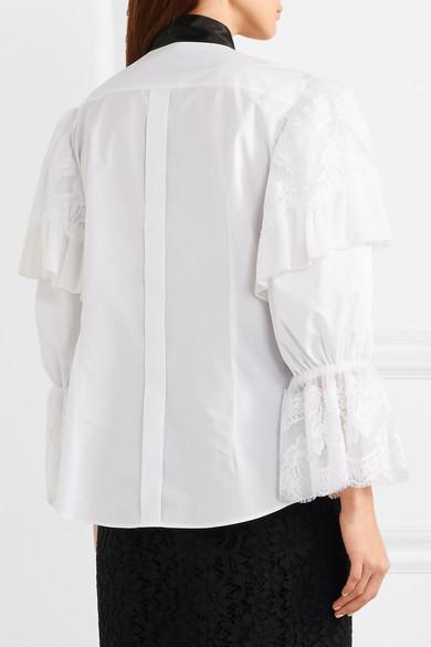 Dolce & Gabbana Bluse aus Popeline aus einer Baumwollmischung mit Spitzenbesätzen und Applikation