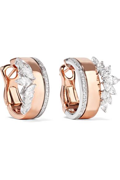 YEPREM - 18-karat Rose And White Gold Diamond Earrings - Rose gold