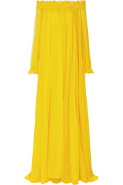 Oscar de la Renta Ruffled off-the-shoulder silk-crepon gown