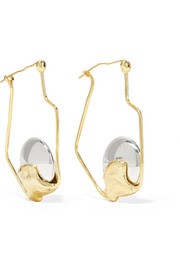 Cusp Oyster gold-plated and silver hoop earrings