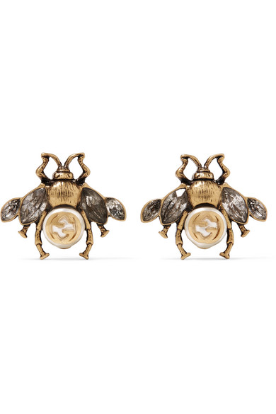 Gucci Burnished Gold Tone Faux Pearl And Crystal Earrings In Br