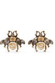 Gucci Burnished gold-tone, faux pearl and crystal earrings