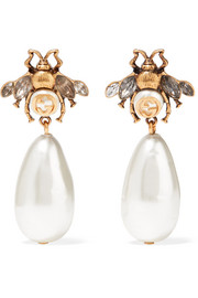 Gold-plated, crystal and faux pearl earrings