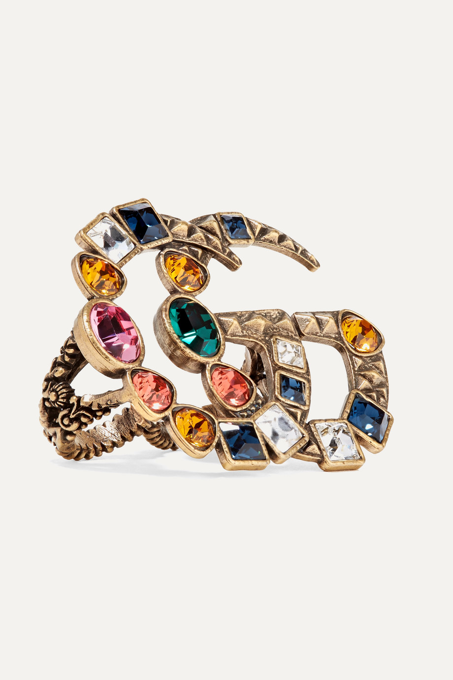 Gucci Goldfarbener Zwei-Finger-Ring mit Kristallen