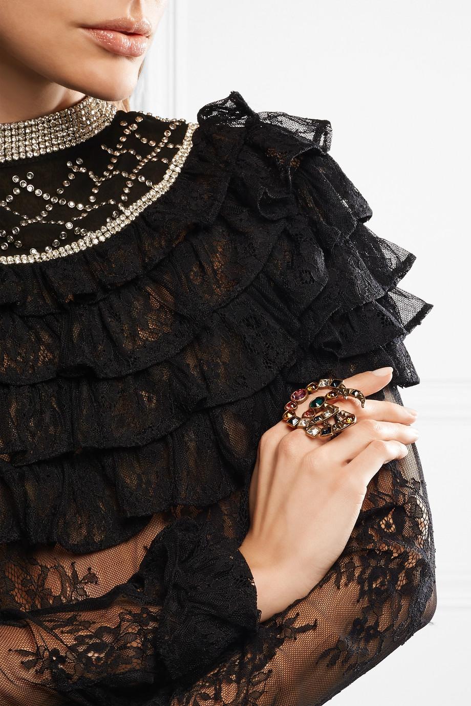 Gucci Bague deux doigts en métal doré et cristaux