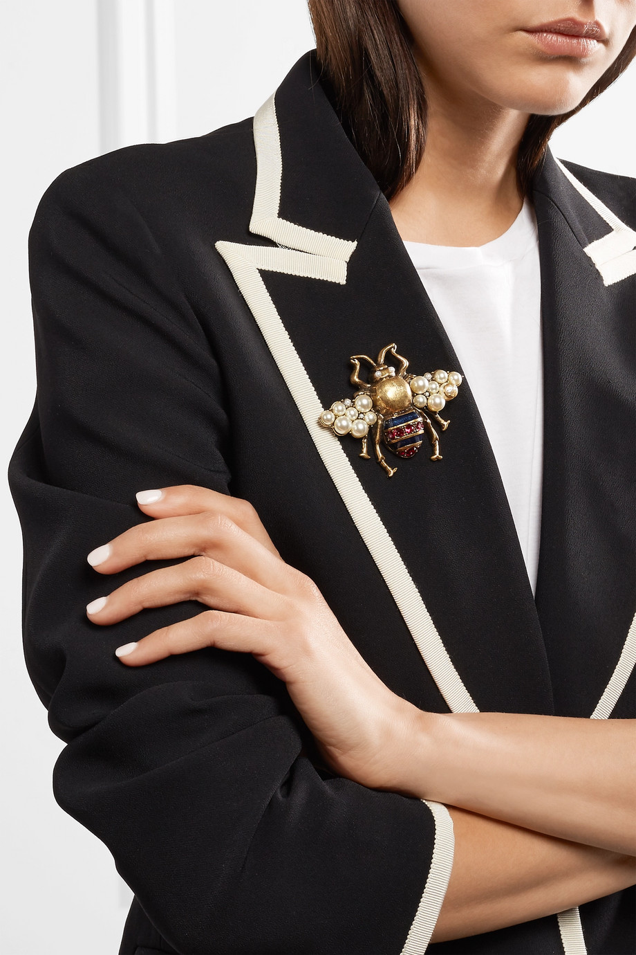 Gucci Gold-tone, enamel, crystal and faux pearl brooch