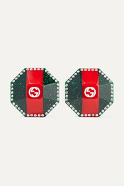 Gucci Glittered enameled gold-tone and crystal earrings