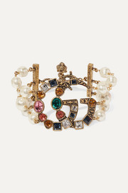Gold-plated, faux-pearl and crystal bracelet