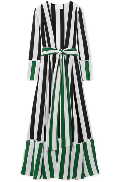 WE ARE LEONE Mixed-Stripe Silk Belted Maxi Cardigan