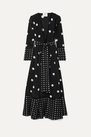 we are LEONE Polka-dot silk crepe de chine robe
