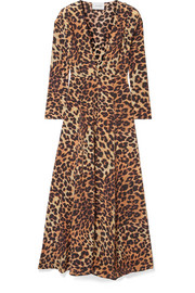 we are LEONE Leopard-print silk crepe de chine robe