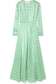 Cali printed silk-charmeuse robe