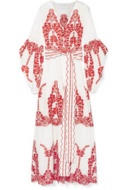 we are LEONE Broderie anglaise-trimmed printed cotton robe