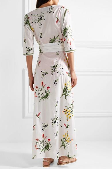 we are LEONE Provence bestickte Robe aus Baumwoll-Voile mit Troddeln