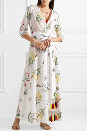 Provence tasseled embroidered cotton-voile robe