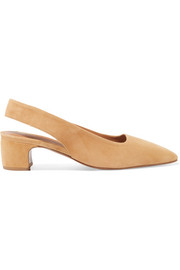 BY FAR Danielle suede slingback pumps
